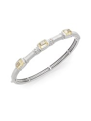 Judith Ripka White Sapphire And Sterling Silver Tri Stone Bangle Bracelet