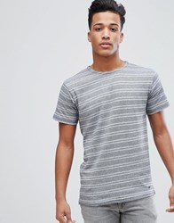 Solid T Shirt With Geo Stripe Navy