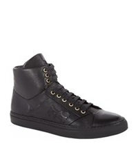 Billionaire High Top Calfskin Sneaker Black