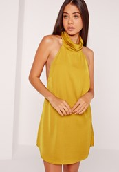 Missguided Silky High Neck Swing Dress Chartreuse Chartreuse