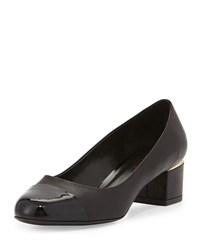 Delman Livia Cap Toe Block Leather Pump Black
