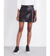 Helmut Lang High Rise Stretch Leather Skirt Black