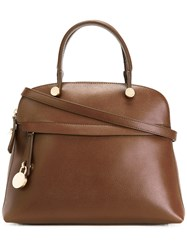 Furla Tote Bag With Zip Pockets And Shoulder Strap Brown