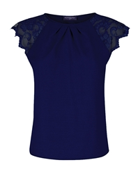 Hotsquash Crepe Top With Lace Sleeves Navy