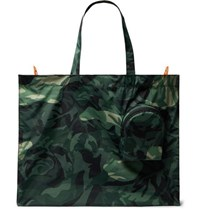 Alexander Mcqueen Camouflage Print Shell Tote Bag Green