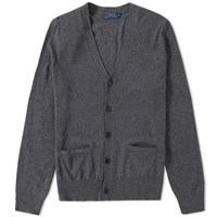 Polo Ralph Lauren Elbow Patch Merino Cardigan Grey