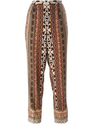 Etro Paisley Print Cropped Trousers Brown