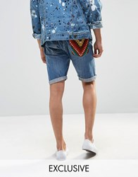 Reclaimed Vintage Levi's Shorts With Pocket Patch Blue