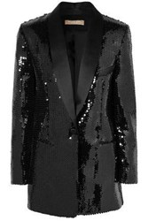 Michael Kors Collection Woman Satin Trimmed Sequined Woven Tuxedo Jacket Black