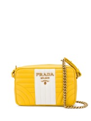 Prada Quilted Cross Body Bag Yellow