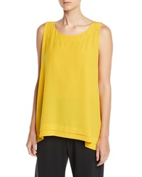 Eskandar Round Neck Silk A Line Shell W Pleated Edges Yellow