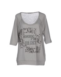 Pinko Grey Topwear T Shirts Women