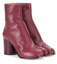 Maison Martin Margiela Tabi Leather Ankle Boots Red