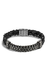 John Hardy Men's Classic Chain Extra Large Oxidized Sterling Silver Station And Braided Black Leather Bracelet Silver Black