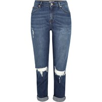 River Island Womens Dark Blue Wash Ripped Ashley Boyfriend Jeans