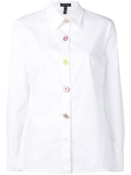 Escada Floral Button Shirt White