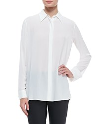 The Row Long Sleeve Collared Blouse White
