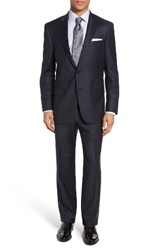 Hart Schaffner Marx Men's Big And Tall Classic Fit Check Wool Suit Navy Check
