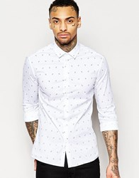 Asos Skinny Shirt In White With Paisley Print White