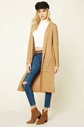 Forever 21 Brushed Knit Hooded Cardigan Camel
