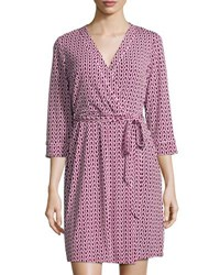 Laundry By Shelli Segal Platinum Chain Link Print Wrap Dress Vivid Pink