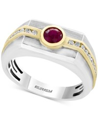 Effy Men's Ruby 5 8 Ct. T.W. And Diamond 1 3 Ct. T.W. Two Tone Ring In 14K Gold And White Gold Red