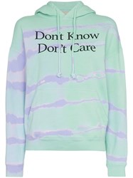 Ashley Williams Don't Know Don't Care Print Cotton Hoodie Green