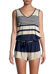 Candc California Striped Sleeveless Romper Navy White