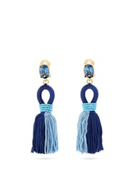 Oscar De La Renta Short Tassel Drop Clip On Earrings Blue