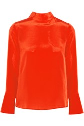J.Crew Howl Draped Silk Crepe De Chine Top Orange