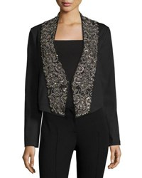 Haute Hippie Embellished Lapel Ponte Jacket Black