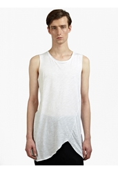 Thom Krom Men's White Lightweight Raw Edge Tank