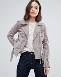 Urbancode Suede Biker Jacket Shadow Grey