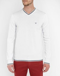 Armani Jeans White Aj Logo V Neck Sweater