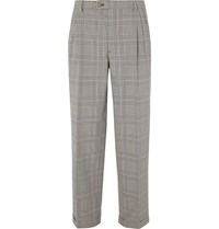 Gucci Grey Pleated Prince Of Wales Checked Cotton Trousers Gray