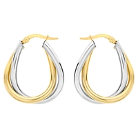 Ibb 9Ct Gold 2 Colour Twined Creole Earrings White Gold
