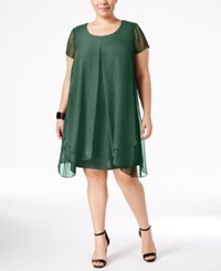 Ny Collection Plus Size Layered Shift Dress Green