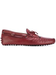 Tod's Bow Detail Loafers Men Leather Rubber 7.5 Red