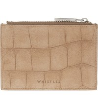 Whistles Suede Crocodile Embossed Coin Purse Tan