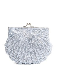 La Regale Beaded Crossbody Shell Clutch Pewter