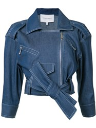 Carolina Herrera Denim Biker Jacket Blue