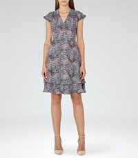 Reiss Angelika Womens Printed Day Dress In Blue