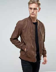Barney's Barneys Faux Leather Nubuck Bomber Jacket Brown