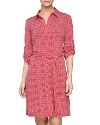 Laundry By Shelli Segal Long Sleeve Stretch Knit Shirtdress Magenta Rose Multi