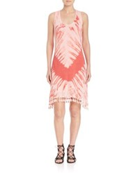 Red Haute Handkerchief Tie Dye Dress Coral