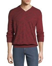 Stefano Ricci Wave Pattern V Neck Sweater Maroon