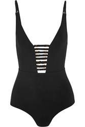 Zimmermann Harlequin Plunge Swimsuit Black