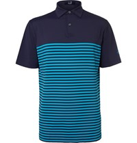 Dunhill Links Lewes Striped Stretch Jersey Golf Polo Shirt Navy