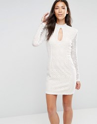 Glamorous High Neck Long Sleeve Lace Bodycon Dress White