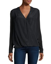 Neiman Marcus Mix Media Draped Long Sleeve Tee Black